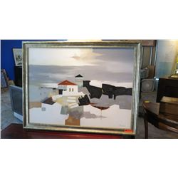 """Large Original Painting on Canvas - Signed Sandoval 53.5 """" L x 41.5 """" H (some discoloration spots)"""