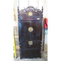 "Tall Dark Lacquer Cabinet w/Geometric Scrollwork 35"" L x 17.5"" Depth, 82"" H (top and bottom awning d"