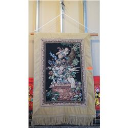 """Large Hanging Embroidery/Tapestry - White Doves, Bowl of Flowers 35.5"""" L x 54"""" H"""