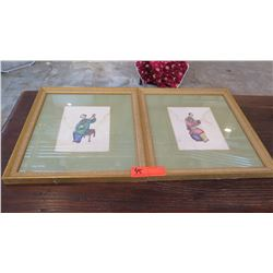 """Pair: Framed Chinese Musicians 14"""" L x 16"""" H"""