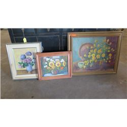 "Qty 3 Framed Original Still Life Paintings on Canvas - Flowers 36"" L x 30"" H"