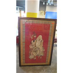 """78"""" X 53.5"""" Framed Red Embroidered Silk Mounted on Wood - Shou Lao w/Child & Deer, Quing Dynasty"""