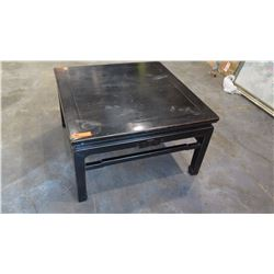 """Antique Square Black Lacquer Table  (has water rings and water stains on top surface) 33"""" L x 33"""" De"""