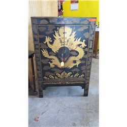 "Antique Handpainted Dragon Cabinet w/Legs - Black Lacquer, Qing Dynasty 31.5"" L x 15.5"" Depth, 48.5"