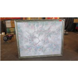 "Large Original Painting on Canvas - Cherry Blossoms Whitewash, Signed Henderson 66"" L x 54"" H"