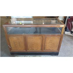 "Vintage Glass Display Case w/Solid Wood Base (Burl Wood?) - Sliding Doors, Drawers, 53.5"" L x 24"" De"