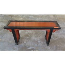 "Antique Red/ Black Lacquer Narrow Side Table - Qing Dynasty 44"" L x 12"" Depth, 21"" H (paint lifting"