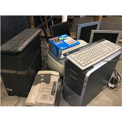"Qty 2 Desktop PC's, Qty 3 Flat Screen Monitors (largest is 18""x14""), Misc. Parts"