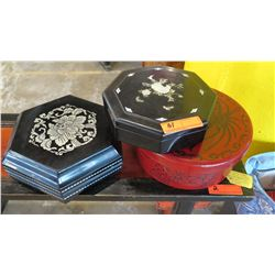"Qty 3 Inlaid/Overlaid Lacquer Boxes: Black Octagon, Black Hexagon, Red Round 10.5"" L x 10.5 H"