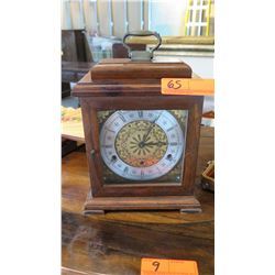 Vintage Clock w/Wood Casing and Brass Handle - British Made, Functionality Unknown