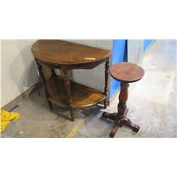 """Antique Walnut Demilune Table w/Shelf and Small Pedestal Table/Stand 34"""" L x 16"""" Depth, 29"""" H"""