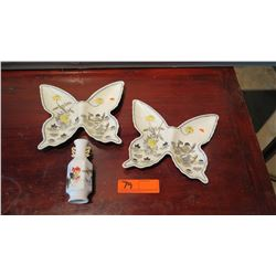Pair: Painted Porcelain Butterfly-Shaped Dishes/Trays, Single Stem Vase