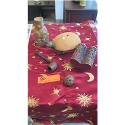Misc. Lot: Clay Turtle, Carved Wooden Pipe, Carved Figure, etc.