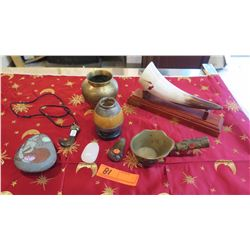 Misc. Lot: Horn, Hooked Pendant, Jeweled Brass Cup w/Handle, Brass Urns, Painted Rock, etc.