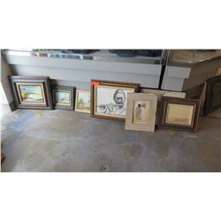 Qty 8 Misc. Framed Paintings / Artwork  (some discoloration)