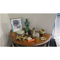 Misc. Lot: Brass/Mixed Metal Ceremonial Vessels, Trinket Boxes, Glazed Ceramic Figure, Picture Frame
