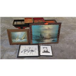 "Seascape Paintings, Bird Sketch, Qty 3 Vintage Wooden Trays 32"" L x 24"" H"