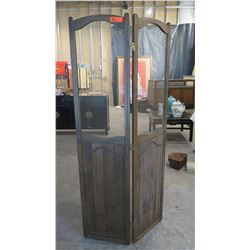 Freestanding 2-Panel Dark Wood Dividers w/Metal Grates