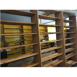 Qty 3 Freestanding Solid Wood Shelves - Each 4ft x 8ft. Each w/8 Shelves. Bottom Shelves Bent. Unpai