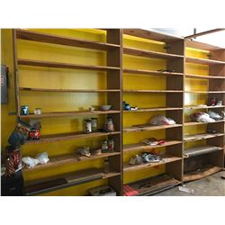 Qty 3 Freestanding Solid Wood Shelves - Each 4ft x 8ft. Each w/8 Shelves. Bottom Shelves Bent and Di