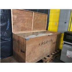 "Wooden Storage Chest / Crate - Hinged Lid (Natural Wood) 64"" L x 28.5"" Depth x 29.5"" H"