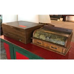 Wooden Silverware Box & Wooden Writing Box