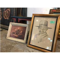 "Qty 2 Framed Artwork (Man w/Hat 25""X18"" Ltd Ed. 22 of 60) & Still Life"