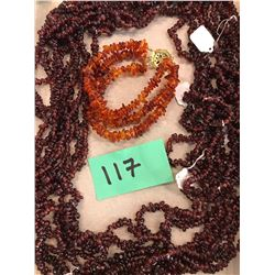 Qty 8 Matching Garnet Necklaces,  Qty 1 Amber 3-Strand Bracelet