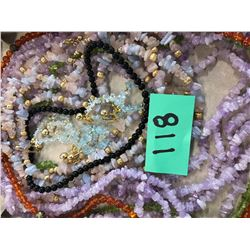 Qty 13 Semi Precious Stone Necklaces (Amethyst, Peridot, Amber, etc.)
