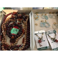 Qty 4 Necklaces (Wooden Beads, Amber, Polished Stones),  Earrings & Misc.