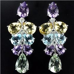 Natural Multi Gemstone 60 Carats EarRing