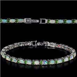 Natural Opal & Chrome Diopside Bracelet