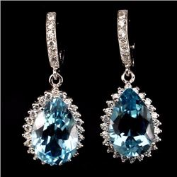 Natural Swiss Blue Swiss Blue Topaz Earrings
