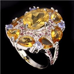 Natural Yellow Citrine Garnet Tanzanite Ring