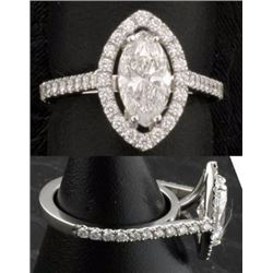 Diamond F/I 1.12 carats & Solid Gold Ring -EGL