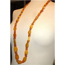 Antique Butterscotch Egg Yolk Amber Beads Necklace