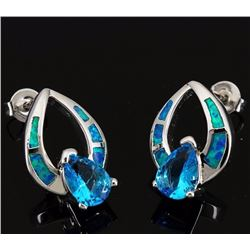 Stunning Opal & Natural Swiss Topaz Earrings