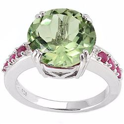 Natural Green Tea Amethyst & Ruby 5.73 carats Ring
