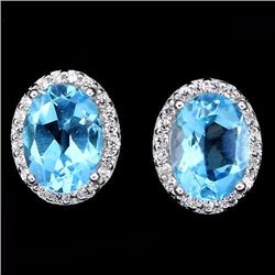 Natural Swiss Blue Topaz Earrings