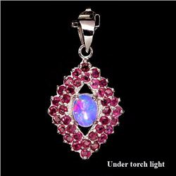 Natural Pink/Red Ruby & Opal Pendant