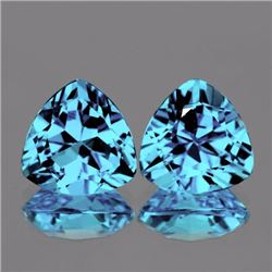 Natural  Sky Blue Topaz  Pair 12.00 MM - VVS