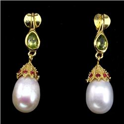 Natural Japanese White Pearl Peridot  Red Ruby Earrings