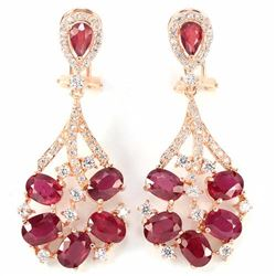 Natural Oval Red Ruby 50 Carats Earrings
