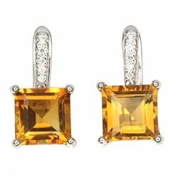 Natural  Yellow Citrine 7 MM Earrings