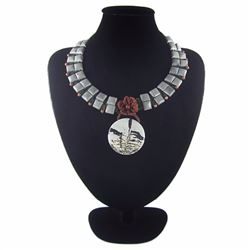 Natural Multi-Color Stone Diamond Polished Necklace
