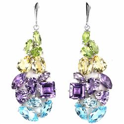 Natural Multi Gemstone 93 Carats & 61 MM Long  EarRing