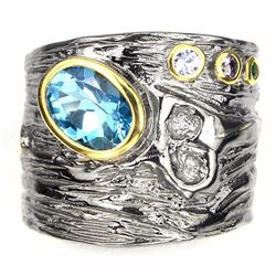 Swiss Blue Topaz Tanzanite Tourmaline  Adjustable Ring
