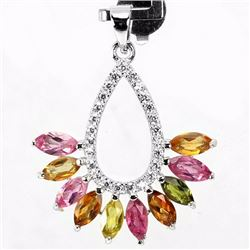 Natural Marquise Fancy Color Sapphire Pendant