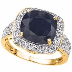 Natural Midnight Blue Black Sapphire & Diamond Ring
