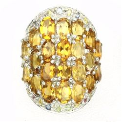 Natural  Yellow Citrine &  Sapphire 76 Cts Ring